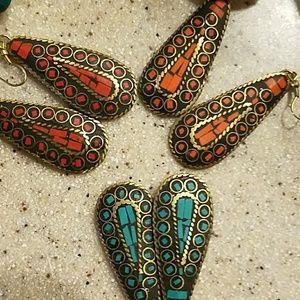 Brass Tibetan Handmade Inlayed Earrings